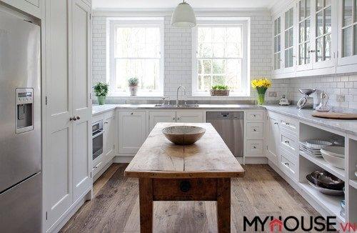 Thiết kế nhà bếp màu trắng đẹp như cổ tích