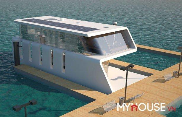 Được thiết kế bởi nhà thiết kế Hyun-Seok Kim. Với kiến trúc hình chữ S, ngôi nhà nổi này được làm nơi neo đậu du thuyền