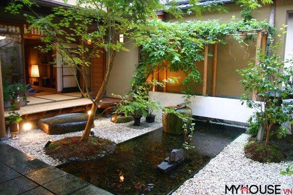 tiểu cảnh đẹp trong nhà với cây xanh, nước chảy, những viên đá nhỏ nghệ thuật được tạo ra như một giải pháp hoàn hảo
